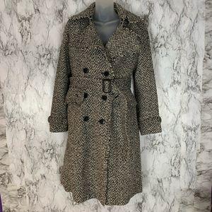 Banana Republic Tweed Long Trench Coat Jacket grey